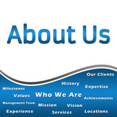 About Us - Heading and Keywords - Blue — Stock Photo