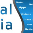Foto Stock: Social Mediwith Keywords - Blue Banner