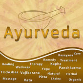 Ayurveda text keywords Mortar with Brown Grunge — Stock Photo