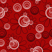 Floral Seamless Red Black White — Stock Photo