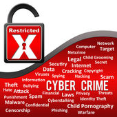 Cyber Crime - Red with Tag Cloud — Stockfoto