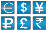 All Currency Icons Blue Square — Stock Photo