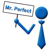 Mr Perfect Signboard Blue — Stock Photo