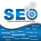 Seo with Gears and Keywords Square — Stock Photo