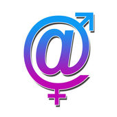 At Sign With Male Female Symbol — Stock Photo
