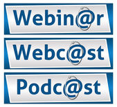 Webinar Webcast and Podcast Blue Blocks — Foto de Stock