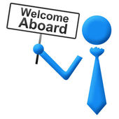 Welcome Aboard Human with Signboard — Stock Photo