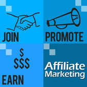 Affiliate Marketing Blue Four Blocks — Stock Photo