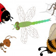 A set of cute cartoon insects — Stock Vector