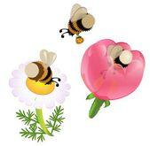 Vector cartoon bumblebees — Stock Vector