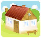 A cute cartoon country house — Stock Vector