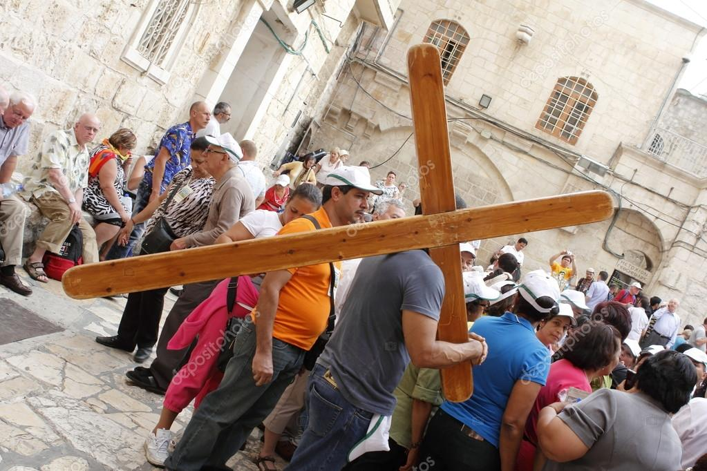 Carrying his cross Jerusalem  Stock Photo #14469371