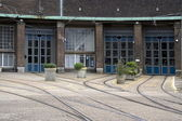 Tram depot at the Lekstraat in Amsterdam — Stock Photo