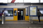 Departing train station Amsterdam Amstel, Netherlands — Stock Photo