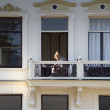 Stock Photo: Girl on balcony in mansion on Velperbinnensingel in Arnhem, Netherlands