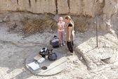 Excavating at the archaeological site Megiddo, Israel — Stock Photo