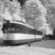 Infrared photo of tram depot — Stock Photo