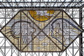 Stained glass in the fuel central hall of airport Keflavik — Stock Photo
