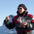 Stock Photo: Explanation during excursion in glacial lake