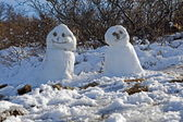 Snowmen in Skaftafell National Park in southern Iceland — Stock Photo