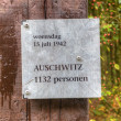 Sign with reference to the victims of Auschwitz Camp Westerbork, Netherlands — Stock Photo