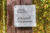 Firmare con riferimento alle vittime di auschwitz campo di westerbork, paesi bassi — Foto Stock