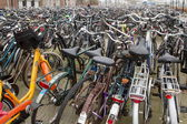 Bicycle parking at railway station — Stockfoto