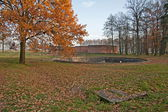 Auschwitz, Poland - November 5, 2008: reservoirs in the former concentration and extermination camp Auschwitz-Birkenau in Poland. — Stock Photo