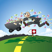 Tax evasion - smuggling savings to Switzerland — Stock Vector