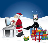 Smart Santa Claus - ordering gifts on the internet — Stock Vector