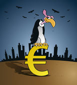 Bankruptcy vulture sitting on an Euro currency sign — Stock Vector