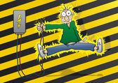 Cartoon man gets an electric shock — Stock Vector
