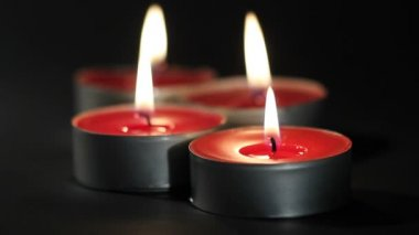 Red candles, tealights — Stock Video