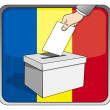 Romanian elections - ballot box and national flag — Stock Vector