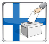 Finnish elections - ballot box and national flag — Stock Vector