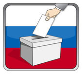 Russian elections - ballot box and national flag — Stock Vector