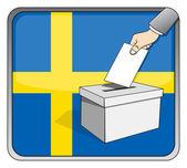 Swedish elections - ballot box and national flag — Stock Vector