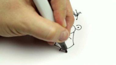 Bir karikatür doodle kroki — Stok video