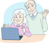 Senior couple using computer at home — Stock Vector