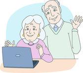 Senior couple using computer at home — Stock Vector