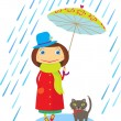 Girl with a cat walking under an umbrella in the rain — Stock Vector