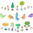 Birds, trees and flowers - Stock Vector