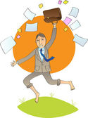 Office man jump with open bag with papers — Stock Vector