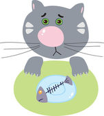 Sad cat with a skeleton of fish — Stock Vector