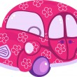 Pink auto with flowers — Stock Vector