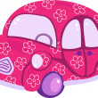 Royalty-Free Stock Vektorgrafik: Pink auto with flowers