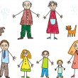 Kids Drawing. Family — Imagen vectorial
