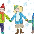 Royalty-Free Stock Vector Image: Kids Drawing. Family in the winter: mother, father