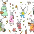 Rabbit family — Image vectorielle