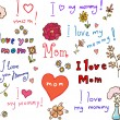 I love mom! set - Stock Vector